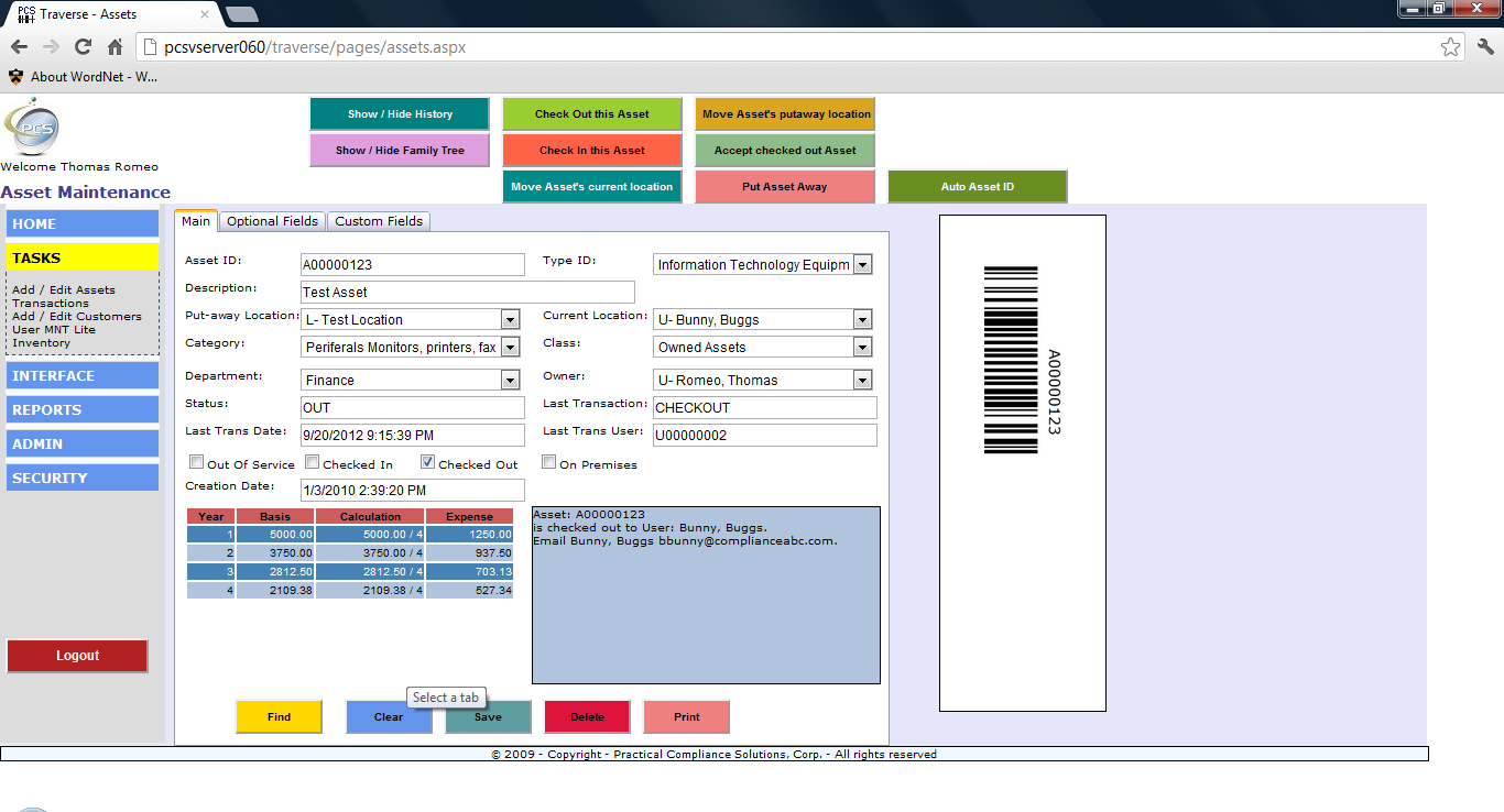All of our asset, inventory, customer, and user screens display barcodes so you can print the page directly and have a scannable image.  If you can barcode it, Traverse can track it.