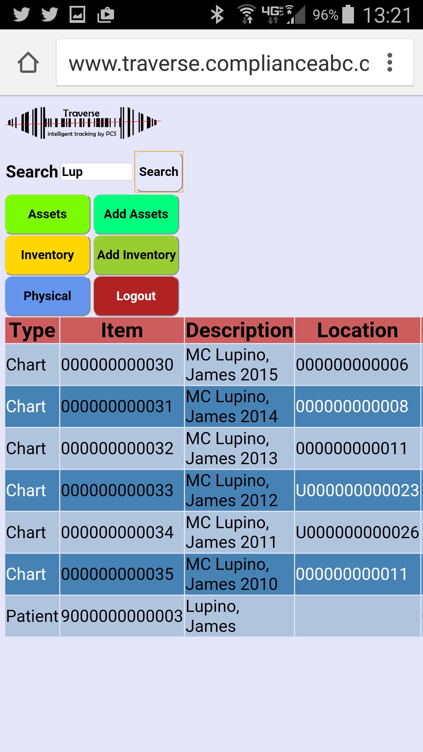 Traverse makes is easy to find all of your tracked items.